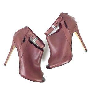 ShoeMint High Heel Ankle Booties Leather Purple